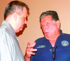 San Luis Mayor Gerardo Sanchez (left) and City Councilman Joe Harper, seen here at the end of a recent city council meeting, plan to complete for the mayor's seat in city elections later this year. : File photo