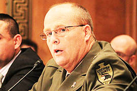 Cochise County Sheriff Mark Dannels testifies to a Senate committee that many of his constituents living along the border are afraid to leave their homes because of problems with border security.