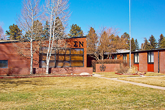 The Sigma Nu, Epsilon Delta chapter house is located at 1513 Fraternity Row, Laramie Wyo.