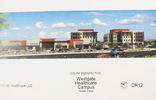 An artist's rendering of the planned Westgate Healthcare Campus off 99th and Glendale avenues. /City of Glendale