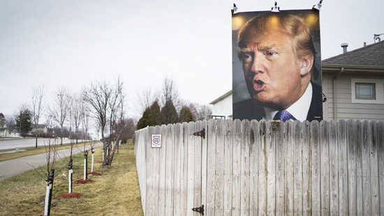 WEST DES MOINES, IA - JANUARY 31: A billboard of Donald Trump in the backyard of George Davey's home on January 31, 2016 in West Des Moines, Iowa. The billboard features the photo of Mr. Davey's chosen candidate in the upcoming Iowa caucuses: Donald Trump. (Photos by Charles Ommanney/The Washington Post via Getty Images)