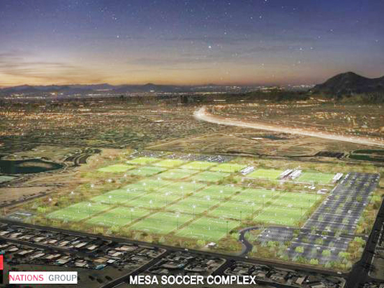 An artist's rendering of the 24-field sports complex proposed for northeast Mesa. /Photo- BCA