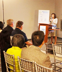 Mayor Cathy Carlat explains Peoria's market and business strategies to a group of investors and developers during a forum held last week:/City of Peoria