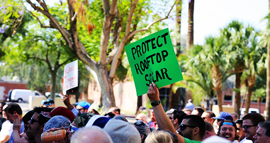 Solar advocates rally to support a solar ballot initiative on April 26, 2016. /Photo by Rachel Leingang, Arizona Capitol Times