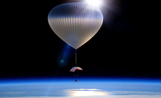 This artist rendering provided by World View Enterprises shows the World View Voyager balloon carrying a pressurized space capsule that will be transported to the edge of space.