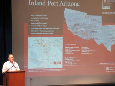 Tim Kanavel of the Pinal County Economic Development Department gives a presentation on Inland Port Arizona.: Joey Chenoweth