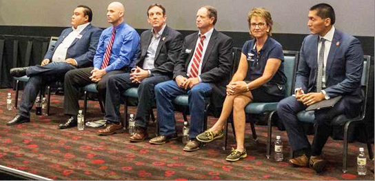 Six of seven Republican primary candidates for U.S. Congressional District 1 participated in the debate- (from left) Shawn Redd, Paul Babeu, Ken Bennett, Gary Kiehne, Wendy Rogers and Carlyle Begay. /Photo by William Lange.