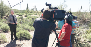 Sheriff Babeu addresses the media at a recent news conference./Pinal Sheriff's Office photo