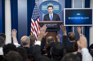 White House press secretary Josh Earnest delivers the daily briefing at the White House. /BRENDAN SMIALOWSKI/AFP/Getty Images