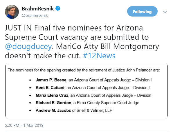 BREAKING] Five nominees for Arizona Supreme Court submitted